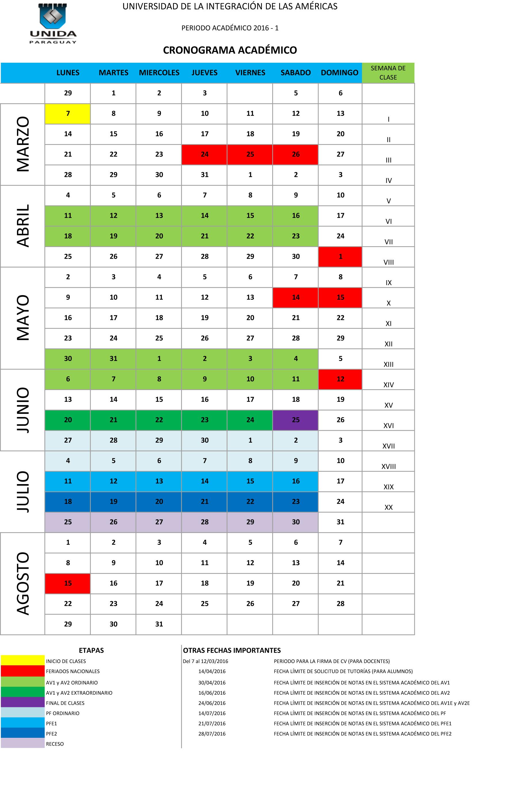 Calendario Académico 2016-1